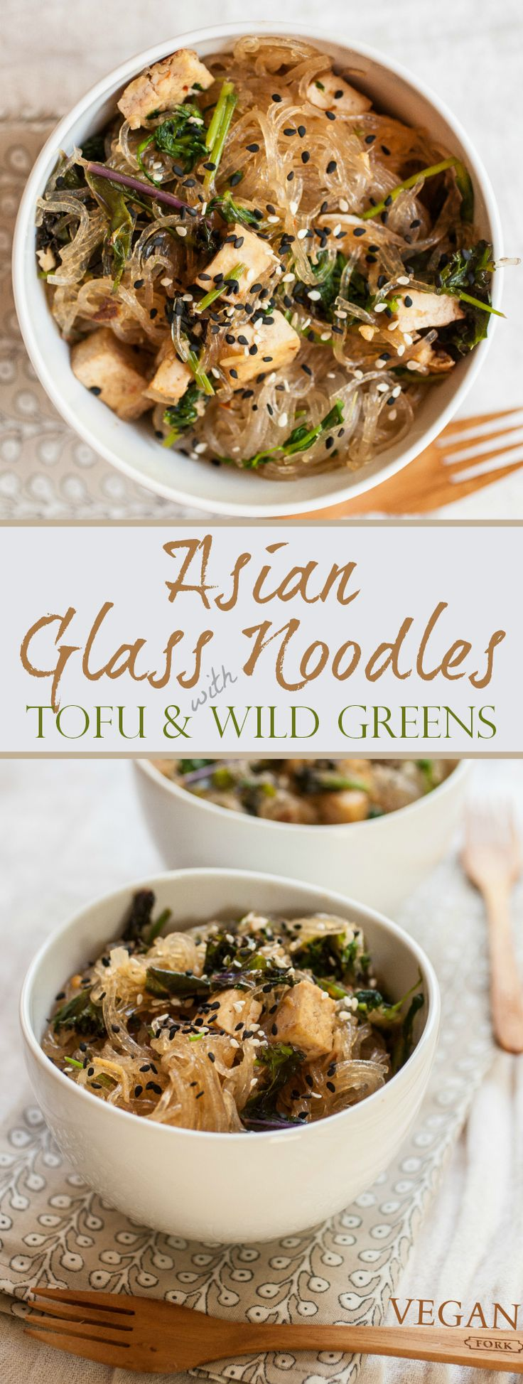 This quick asian dish is infused with ginger, garlic, lime, and sweet chili. Studded with browned tofu, kale and wild greens are strewn throughout the chewy, flavorful glass noodles.