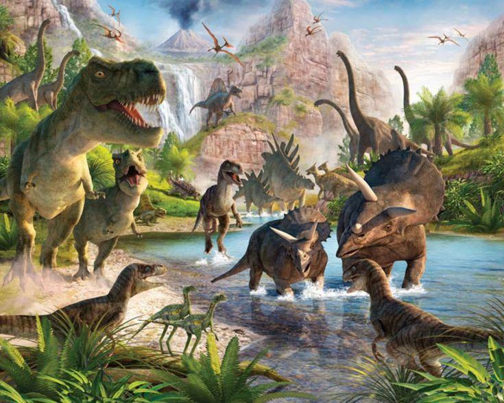 Fotobehang Posterbehang Dinosaurus behang, posterbehang, kinderkamer behang dino thema oertijd 3d behang van Walltastic