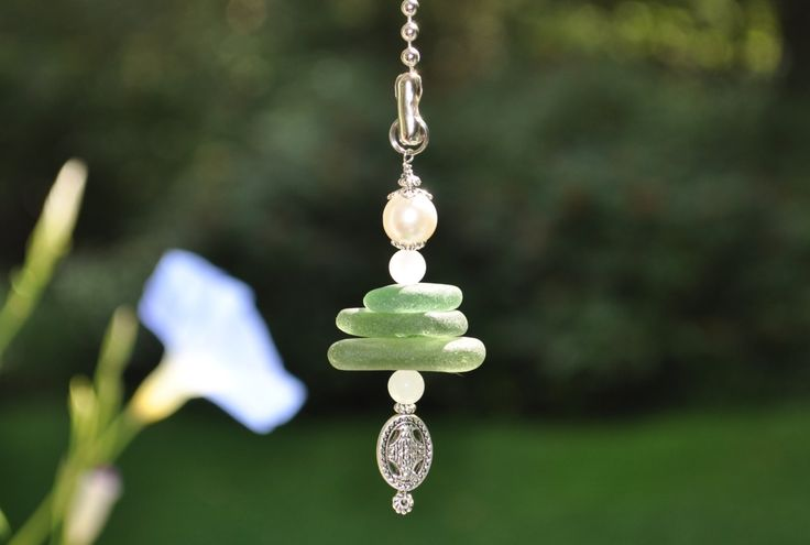 Genuine Sea Glass Ceiling Fan Pull Light Pull Suncatcher Olive Green Stack 305 Free Shipping Lamp Pull Beaded Pull Unique Gift Sun Catcher by 2ndtimeglass on Etsy
