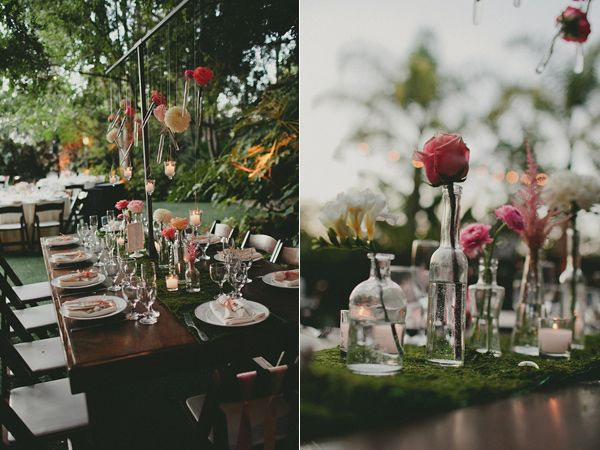 hanging flowers and moss runners - magical! www.stellabloomdesigns.com