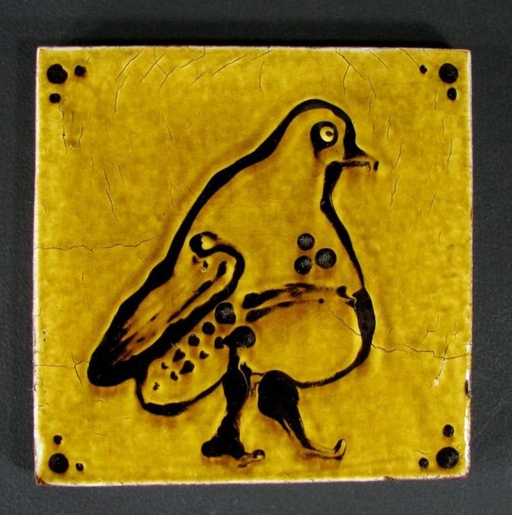 Vintage Japanese FUNAKI Slipware Folk Pottery Tile w/ Bird Decor.