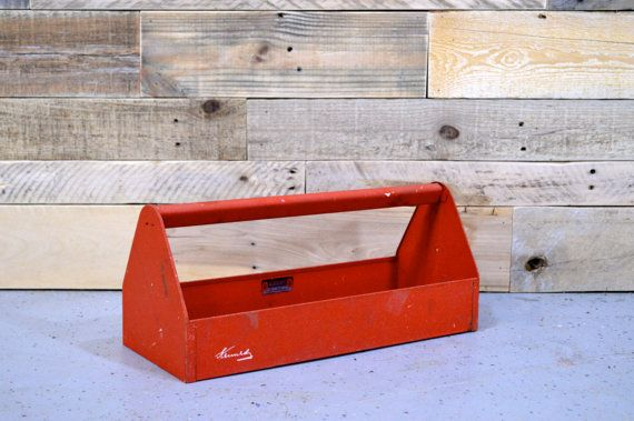 Vintage Tool Box, Vintage Tool Caddy, Kennedy Tool Box, Kennedy Tool Caddy, Red Tool Box, Metal Tool Box, Mid Century Modern Tool Box