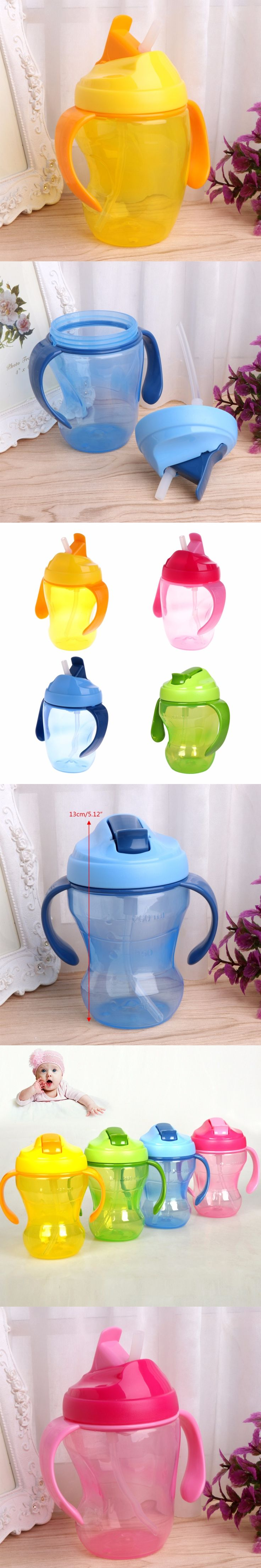 260ml Children Baby Infant Leak Proof Cup Learn Drinking Straw Bottle Trainer Baby Water Drinking Cups