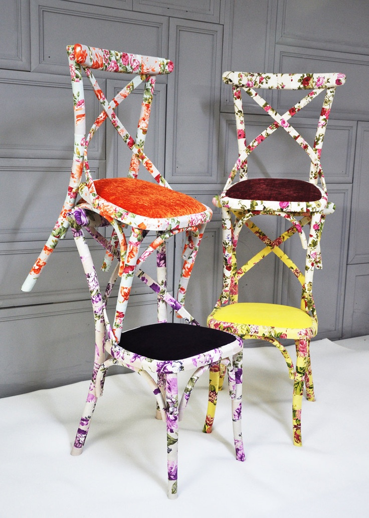 4 x colorful floral Thonet dining chairs (custom order). $1,000.00, via Etsy.