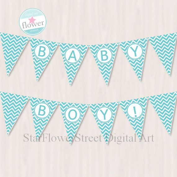 Baby Shower Banner boy turquoise blue Baby by StarFlowerStreetDA