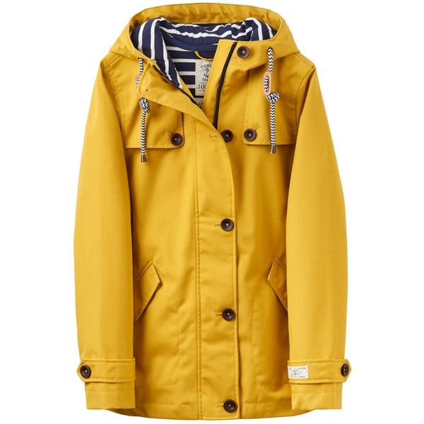 Joules Right as Rain Coast Waterproof Jacket (£85) ❤ liked on Polyvore featuring outerwear, jackets, yellow jacket, joules jackets, water proof jacket, waterproof jacket and yellow waterproof jacket