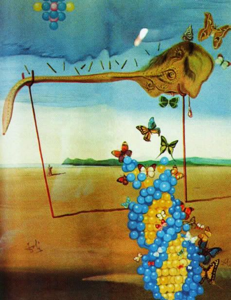 Salvador Dalí -   Landscape of Butterfly and Raisin, 1963 - 1964, oil on canvas.  In this painting Dalí paid tribute to James Watson, co-discoverer of DNA's double-helix structure, who he met in 1962.
