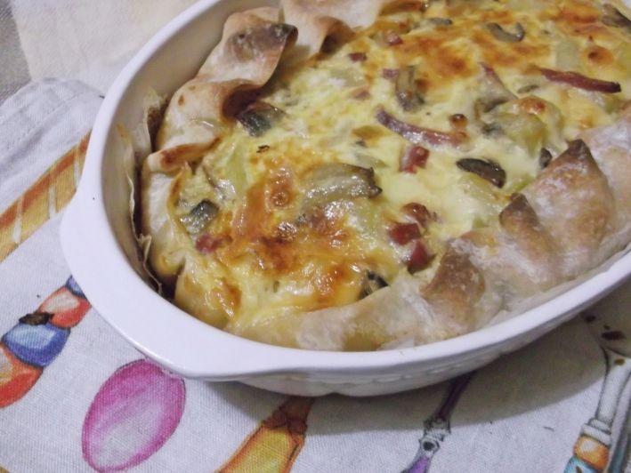 Quiche di Patate e Funghi con Speck e Scamorza