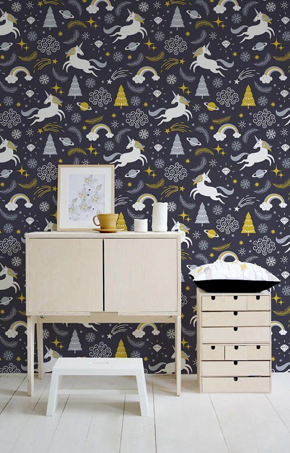 Unicorn Wallpaper Nursery Wallpaper Peel And Stick Etsy Nursery Wallpaper Baby Wallpaper Unicorn Wallpaper