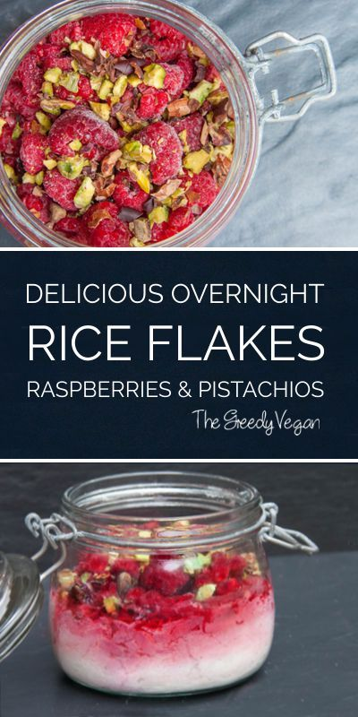 Delicious overnight rice flakes with raspberries. Quickly made ahead with a sprinkle of cacao beans and pistachios. Lactose and gluten free.
