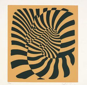 Zebras (orange) - (Victor Vasarely):