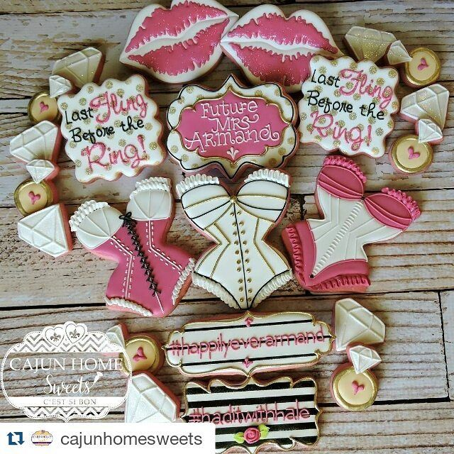 Here's a super cute set of bachelorette cookies by Barb of @cajunhomesweets. Are…