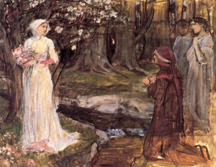 Dante Alighieri and Beatrice Portinari  by John William Waterhouse