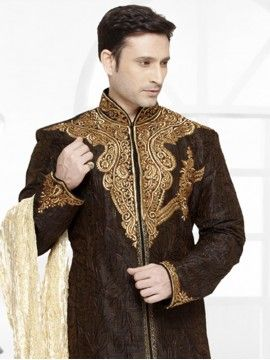 Two Toned Black & Gold Art Silk Sherwani