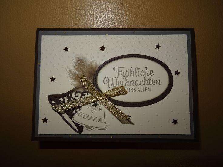 Stampin up SU Karte Weihnachten Weihnachtskarte vanille schokobraun gold Weihnacht Glocken Glockenläuten Glöckchen Framelits Federn Sterne