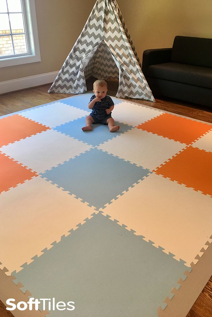 A beautiful neutral colored play mat using SoftTiles foam mats. Create fun playroom floors that look great in any room. #playroom #playroom decor