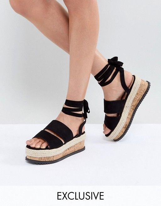 b3581812afb07 Lost Ink Black Ankle Tie Flatform Sandals | round one outfits for sorority  recruitment. | Sandals, Boyfriend jeans outfit, Black sandals