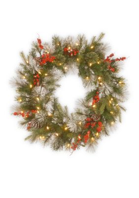 National Tree Company 30-In. Feel Real Wintry Berry Collection Wreath With Led Lights - Green - One Size