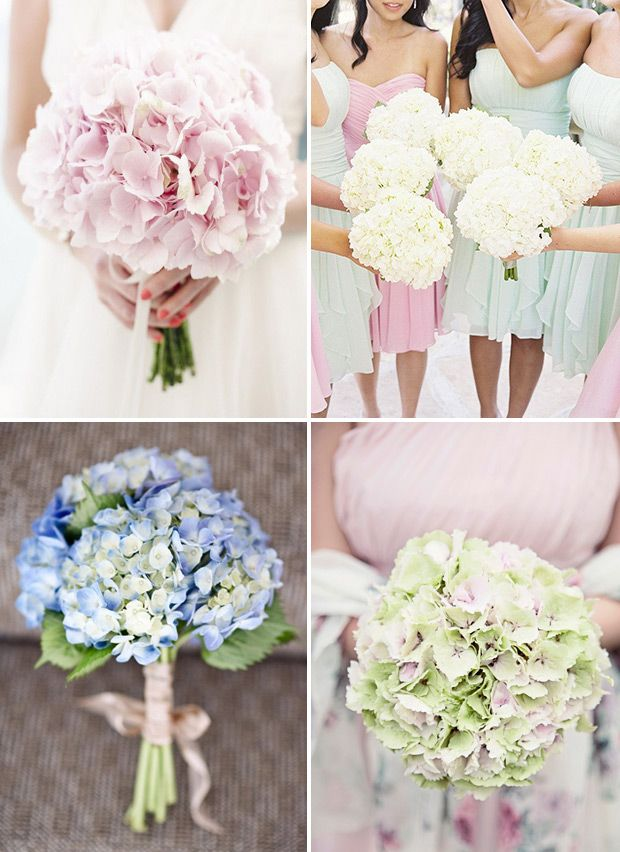 Hydrangea bridal bouquets | www.onefabday.com | #Hydrangea I'm thinking a couple hydrangeas with some ribbon hanging down