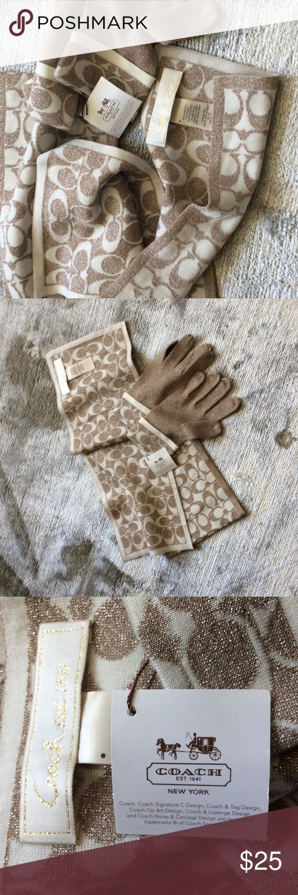 Coach scarf and gloves New Coach Scarf and gloves. Accessories Gloves & Mittens