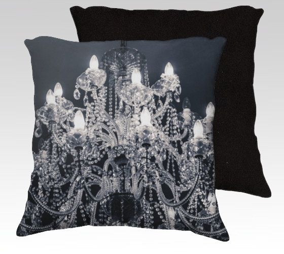 Grand Black and White Chandelier Photography Throw Pillowcase Sham Cover Industrial Chic Vintage Gothic Home Decor
