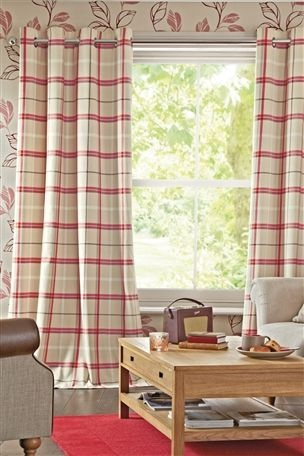 Buy Red Woven Check Eyelet Curtains Living Room