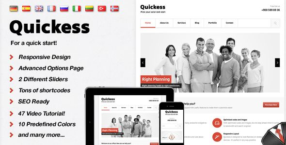 Quickess Responsive Corporate WordPress Theme  #themeforest
