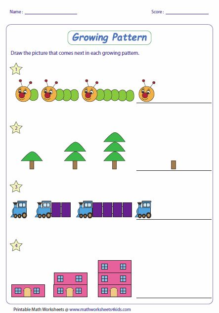Math pattern worksheets with different levels for ages K-8 ...