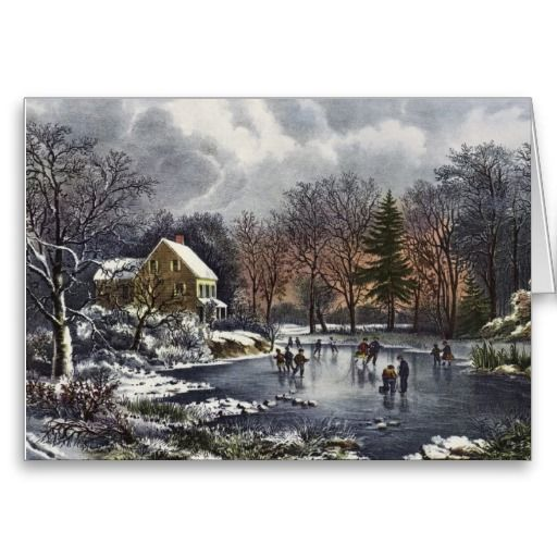 Vintage Christmas; Early Winter Ice Skaters Pond Cards