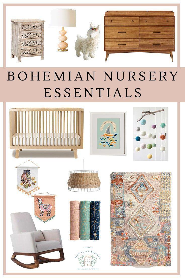 Boho Nursery Must Haves. Gorgeous Crib, Rocker, Colorful Rug And Lots Of Accesories Www.parkplacedesigns.n… | Nursery Rugs Girl, Boho Baby Nursery, Baby Room Design