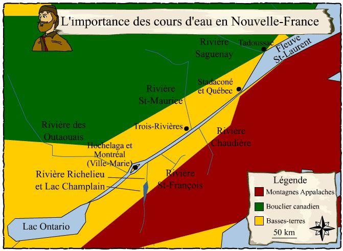 """<div title='Images, cartes ou graphiques libres de droits pour un usage éducatif et non commercial. Merci de mentionner le nom de l'auteur et la source.'class='image-licence'><span id='vert-libre'></span></div>[L'importance des cours d'eau en Nouvelle-France] © Service national du RÉCIT de l'univers social, <a href=""""http://www.recitus.qc.ca"""">www.recitus.qc.ca</a>"""