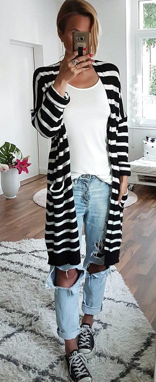 #fall #outfits Monochrome Striped Cardigan + White Top + Destroyed Jeans