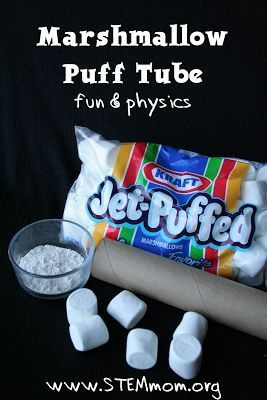 Marshmallow Puff Tube for inquiry based activity - projectile motion in physics