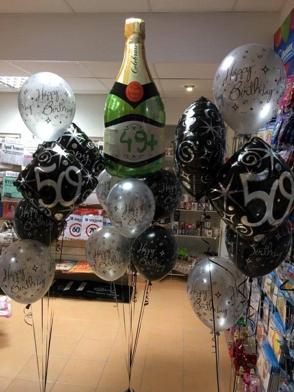 50. születésnapra pezsgősüveg lufi dekoráció.  #szülinap #lufi #balloon #qualatex #design