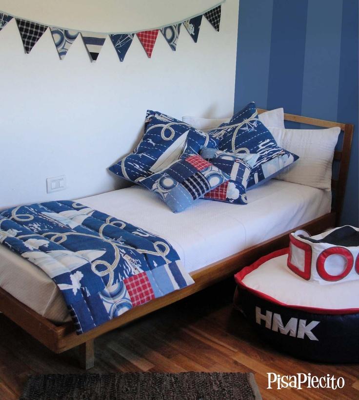 Conjunto de piecera + almohadones + tira banderin para marineritos
