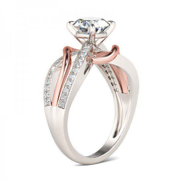 Jeulia Two Tone Bypass Round Cut Created White Sapphire Engagement Ring - Jeulia Jewelry