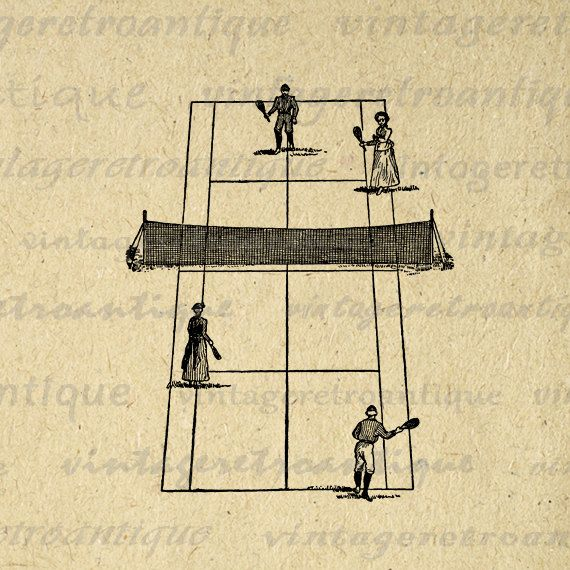 Antique Tennis Digital Printable Image Vintage Tennis Court and Tennis Players Download Graphic for Transfers Pillows HQ 300dpi No.4254