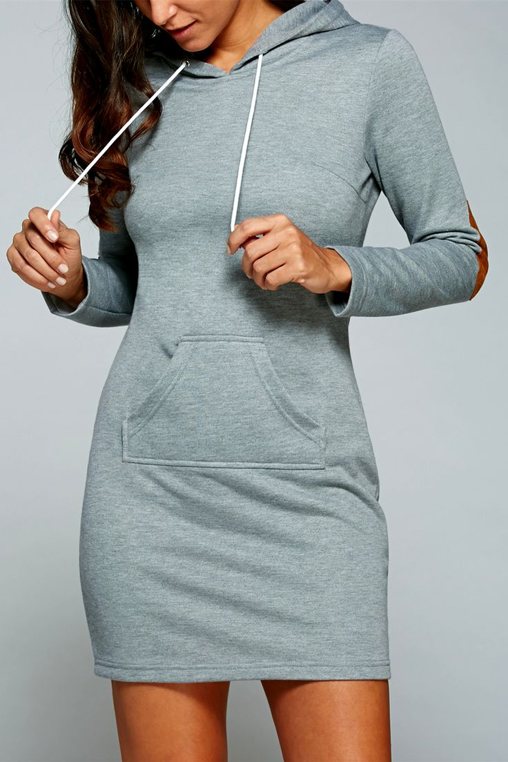 $19.16 Kangaroo Pocket Hoodie Dress with Elbow Patch
