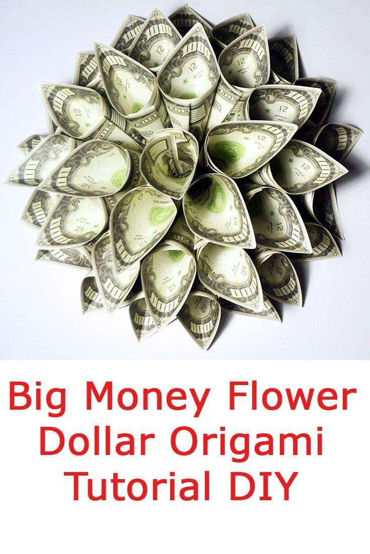 Money Plumeria Origami Flower Dollar Tutorial DIY Folded No glue - YouTube | 1102x735