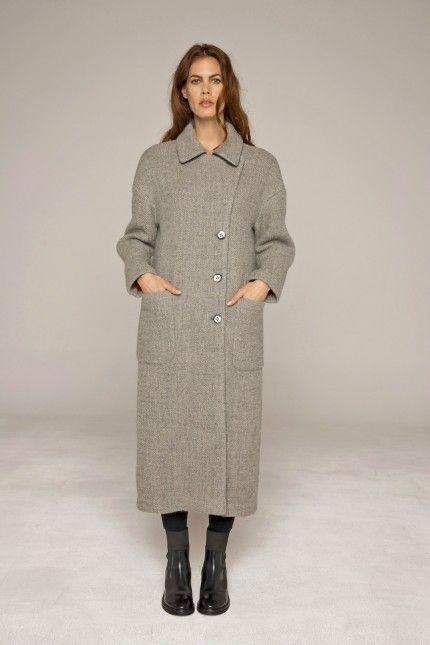 Long manteau droit en matière double face en laine vierge et lin #manteau #long #gris #laine #lin #qualité #femme #lenerfabriquedemanteaux