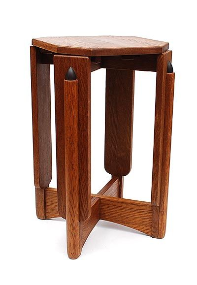 Oak side table with coromandel wooden accents design attributed to Hildo Krop / the Netherlands ca.1920