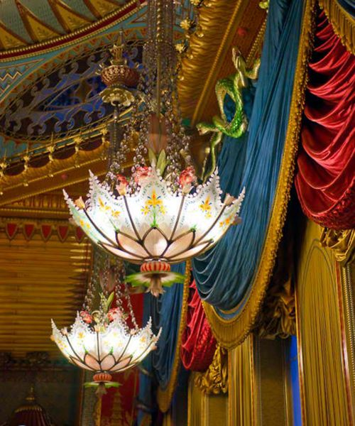 1818 Chinoiserie chandeliers with umbrella shaped etched and painted glass shade and brass ribs edged with etched glass beads.
