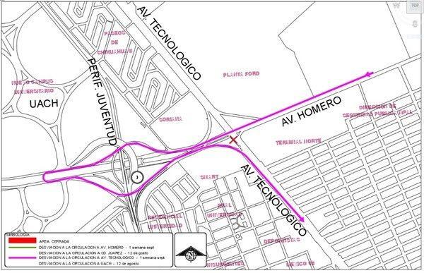 Cierran desde hoy el carril lateral de la avenida Tecnológico por obras de construcción del Trébol; Invitan a tomar vías alternas