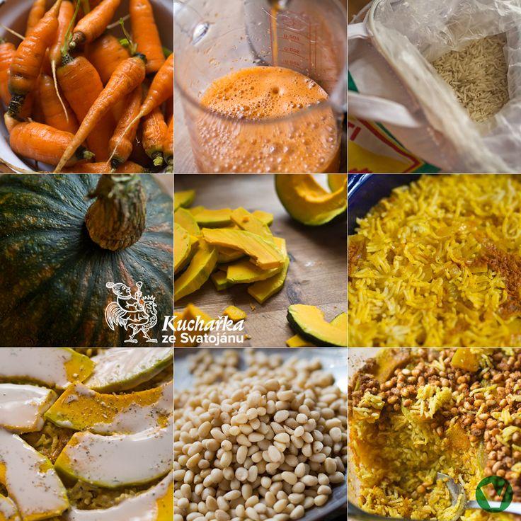 Pro 6 osob. Na dvou lžících oleje necháme zesklovatět nakrájenou cibuli, vsypeme 400 g propláchnuté rýže basmati, osolíme a několik minut mí...
