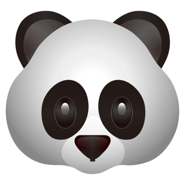High resolution Panda Face Emoji. An adorable black and white panda will make your messages and posts unbearably cute!