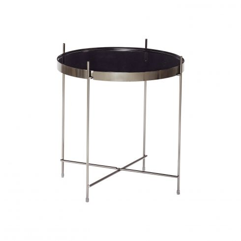 Hubsch Gun Metal Round Coffe Table With Mirror Top