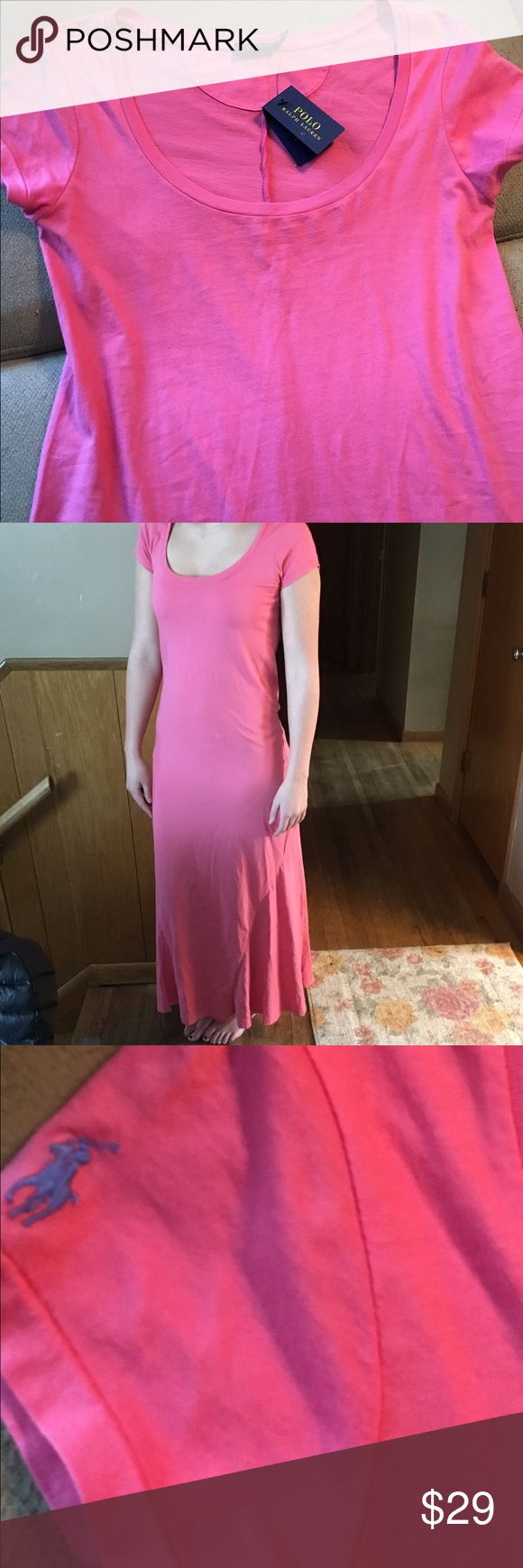 Polo Tee Shirt Maxi Get ready for the winter getaway. This pink/coral tee shirt maxi made by Ralph Lauren Polo is perfect!  Easy breezy and attractive. NWT Polo by Ralph Lauren Dresses Maxi