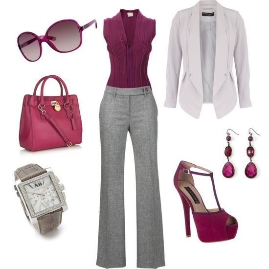 Gray slacks and plum top