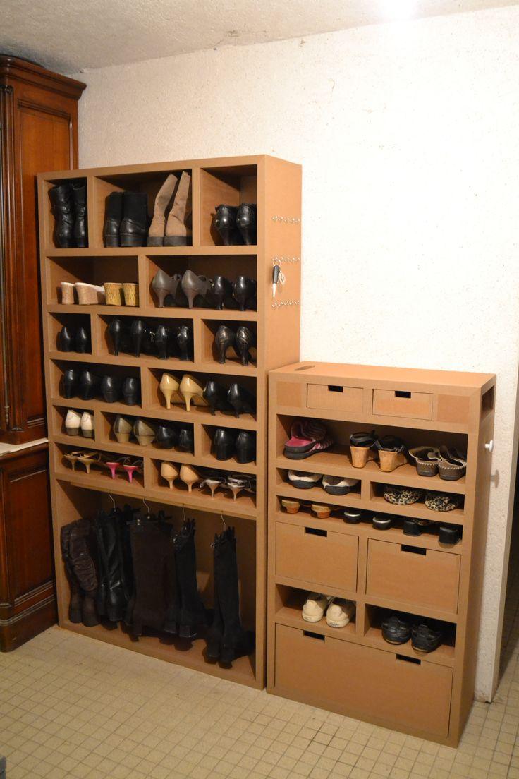 Meuble en carton rangement chaussures de femme