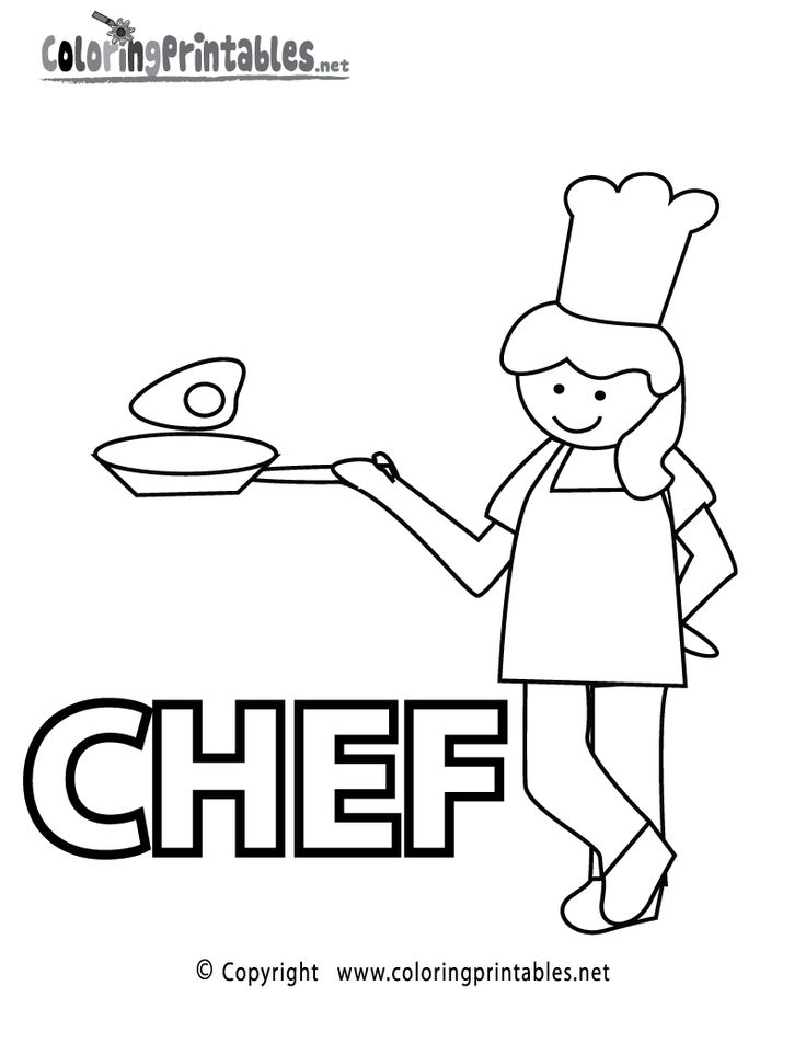 chef coloring page printable - Language Arts Coloring Pages